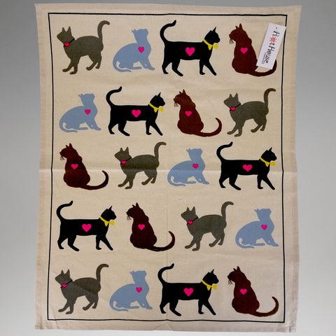 Tea Towel - 'Luv Cats'