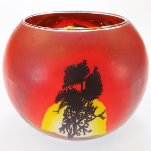 Glass Illusions 15cm Tea Light Shade - Tree Sunset