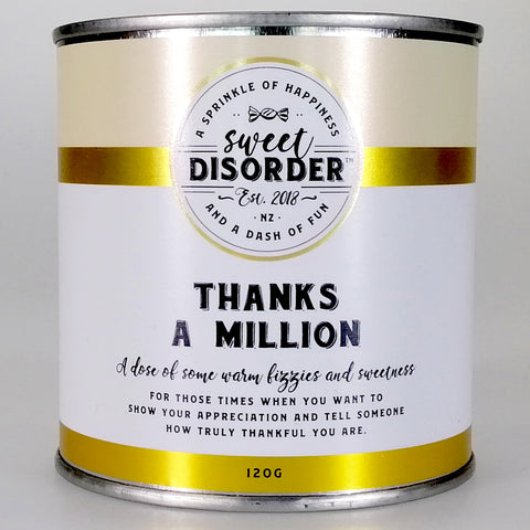 """Thanks a Million"" Fizzy Candy - 120g"