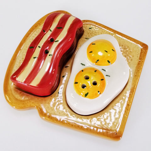 'Bacon & Egg' Collectible Ceramic Salt & Pepper Set