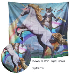 Adventure of Unicorn and Cat Shower Curtain