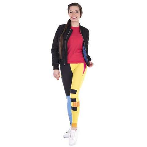 Black Yellow Pink Spreading Stripe Leggings - Printeera Store