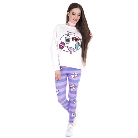Blue Pink Stripe Paw Lady Cat Leggings - Printeera Store