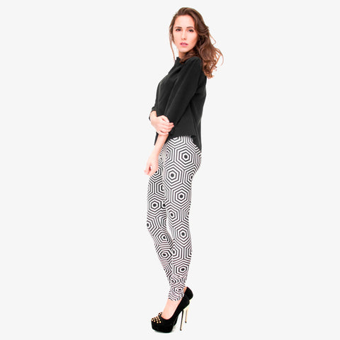 Black White Hexagon Line Pattern Leggings - Printeera Store