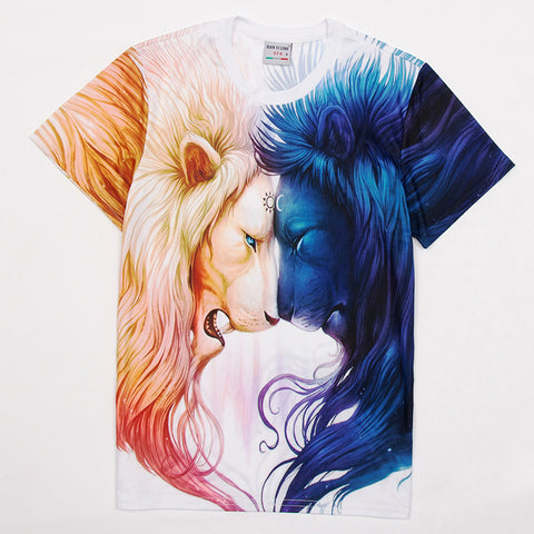 Marvelous Lion Fire and Water Tee Shirt - Printeera Store