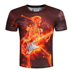Burning Fire Metal Rock Skull Tee Shirt - Printeera Store