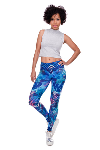 Blue Tropical Leaves Leggings - Printeera Store