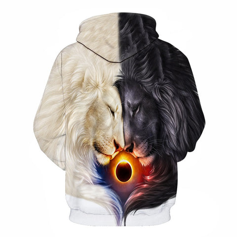 Total Eclipse Lion Dark and Light Hoodie - Printeera Store