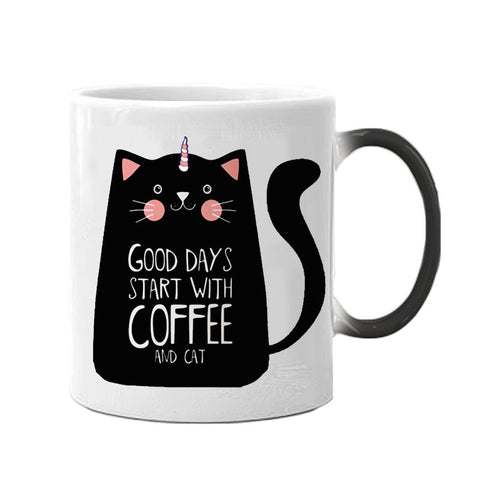 Good Day with Cat and Coffee Color Changing Mug - Printeera Store