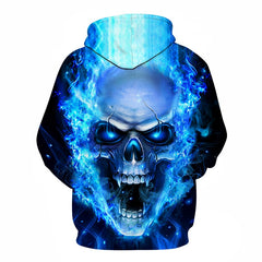 Blue Flame Burning Raging Skull Hoodie