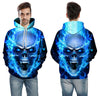 Image of Blue Flame Burning Raging Skull Hoodie - Printeera Store