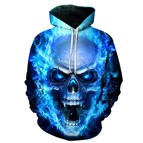 Blue Flame Burning Raging Skull Hoodie - Printeera Store