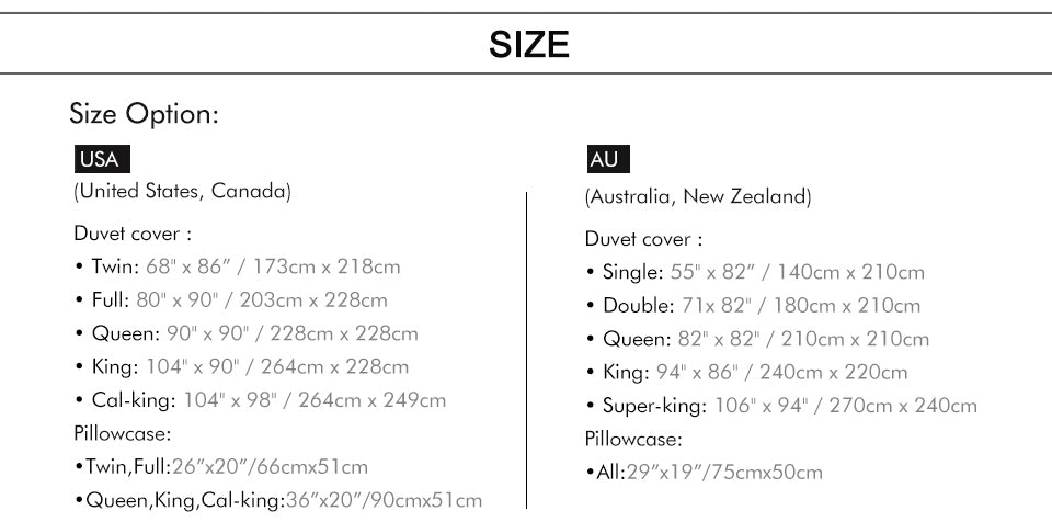 Golden Scorpion Bedding Set Size Chart - Printeera Store