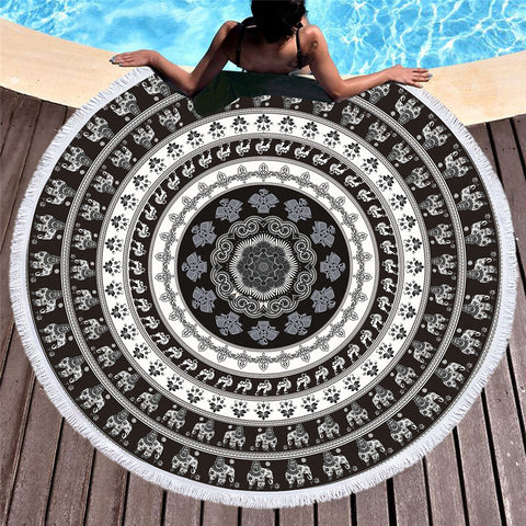 Black Circle Elephant Round Beach Towel - Printeera Store