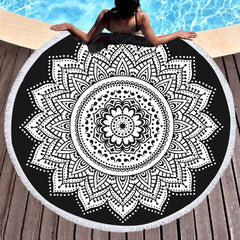 Black and White Lotus Mandala Round Beach Towel - Printeera Store