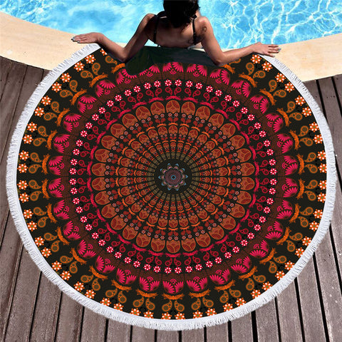 Red Circle Flower Round Beach Towel - Printeera Store