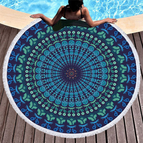 Green Circle Flower Round Beach Towel - Printeera Store