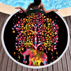 Elephant Tree Round Beach Towel - Printeera Store