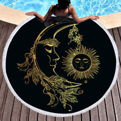Golden Moon and Sun Round Beach Towel - Printeera Store