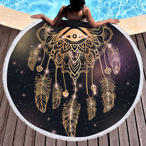 Golden Dreamcatcher Round Beach Towel - Printeera Store
