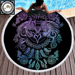 Wolves Heart Round Beach Towel by Sunima-Mystery Art (Dark Edition)