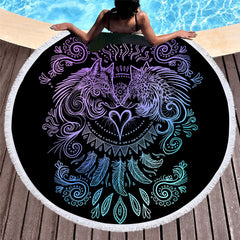 Wolves Heart Round Beach Towel - Printeera Store