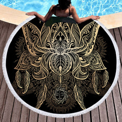 Golden Lotus Round Beach Towel - Printeera Store
