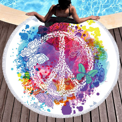 Abstract Color Butterfly Round Beach Towel - Printeera Store
