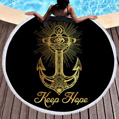 Golden Anchor Round Beach Towel - Printeera Store