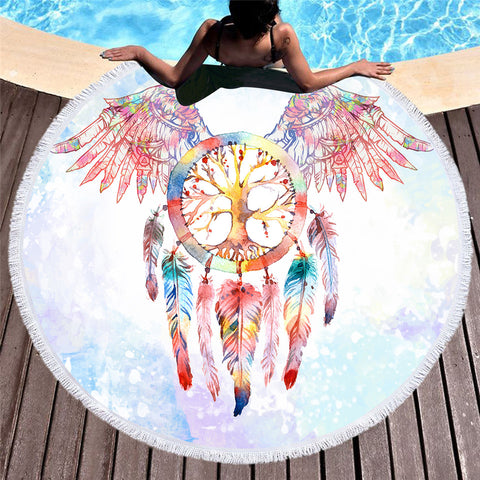 Angel Wings Dreamcatcher Round Beach Towel - Printeera Store