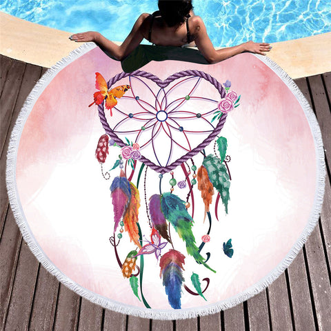 Heart Dreamcatcher Round Beach Towel - Printeera Store