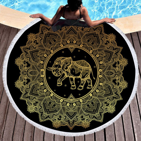 Golden Circle Elephant Round Beach Towel - Printeera Store
