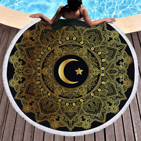 Golden Moon Star Round Beach Towel - Printeera Store