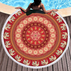 Red Circle Elephant Round Beach Towel - Printeera Store