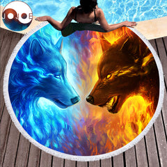 Fire and Ice Round Beach Towel by JoJoes Art