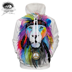 Hippy Lion Hoodie by Pixie Cold Art
