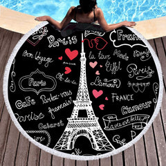 France Love Round Beach Towel - Printeera Store