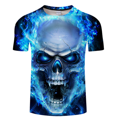 Blue Flame Burning Raging Skull T-Shirt - Printeera Store