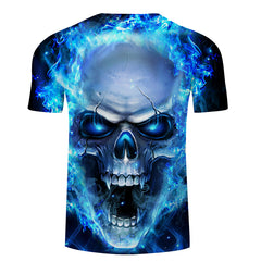 Blue Flame Burning Raging Skull T-Shirt