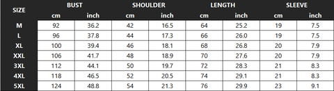 The Sovereign King of Lion Tee Shirt Size Chart - Printeera Store