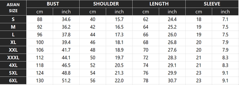 Brotherhood Lion T-Shirt Size Chart - Printeera Store