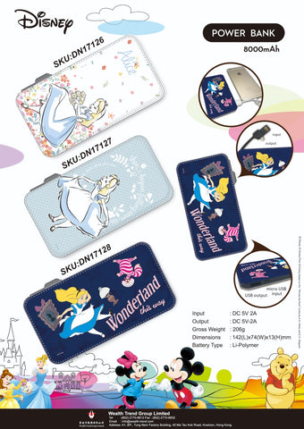 【特價--需預訂】Disney Alice in the Wonderland Power Bank 8000mAh