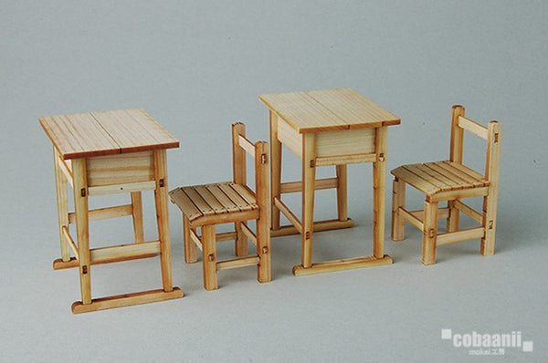 【售完】Cobaanii Mokei Work Shop 1:12 Wooden desk & School Chair (2-pair)