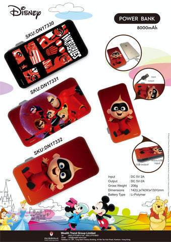 【特價--需預訂】Disney The Incredibles Power Bank 8000mAh