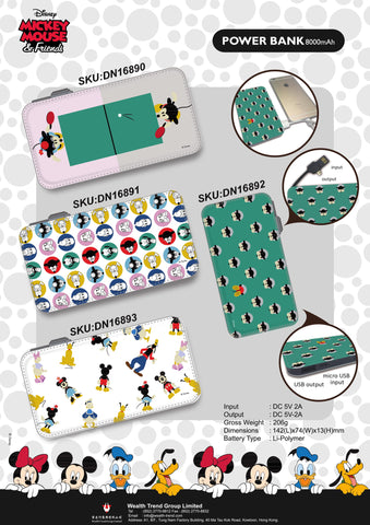【特價--需預訂】Disney Micky Minnie Mouse Donald Duck Goofy Power Bank 8000mAh