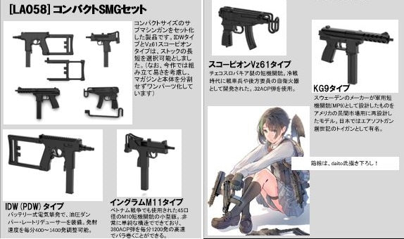 【已截訂】Tomytec 1:12 Little Armory (LA058) Compact SMG Set 1/12 Parts