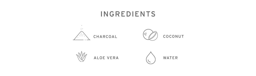 Ingredients - Charcoal, Coconut Oil, Aloe Vera and Water