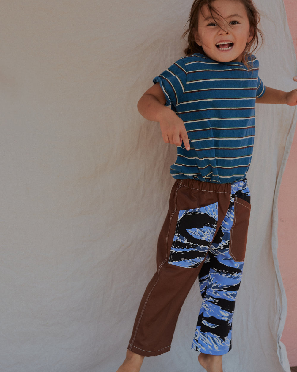 Chatham Trouser in Blue Tiger Camo & Brown