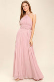 Bear Shoulder High Waist Pleated Long Chiffon Dress