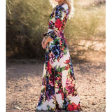 Floral Print V-neck 3/4 Sleeves Long Dress